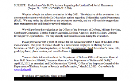Evaluation of the DoD's Actions Regarding the Unidentified Aerial Phenomena (Project No. D2021-DEV0SN-0116.000)
